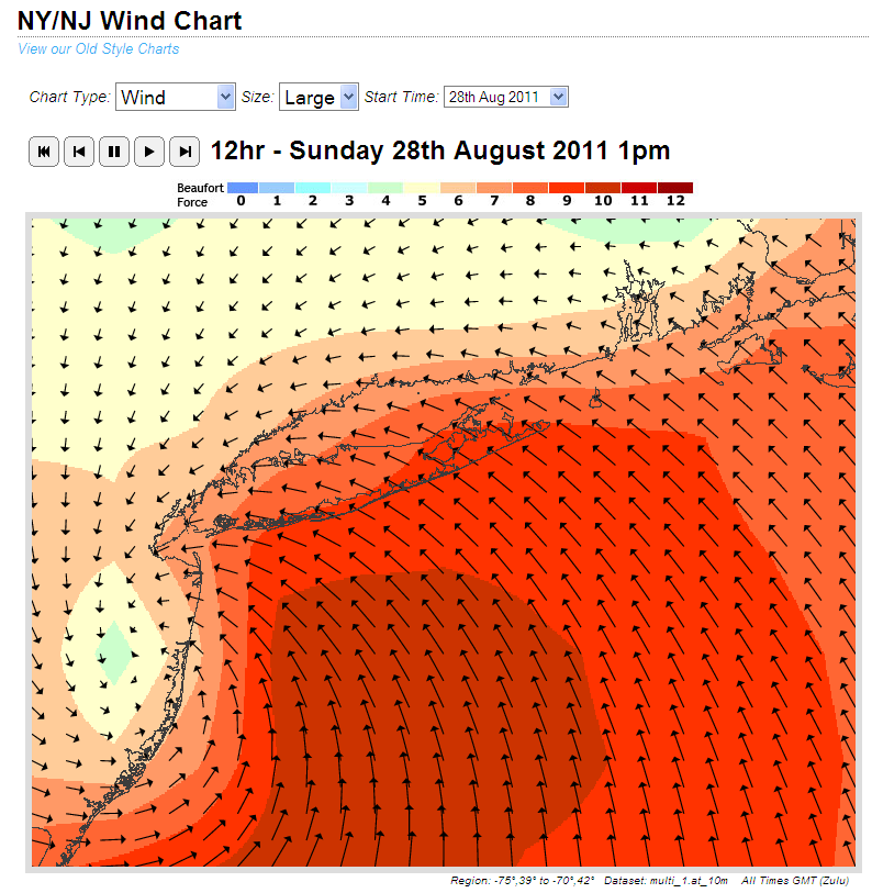 Wind forecast for New York City for 13:00 UTC on Sunday August 28th 2011