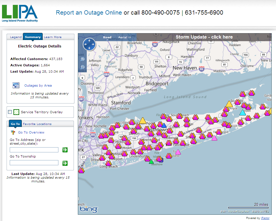 Long Island Power Authority Outage Map at 10:34 AM on Sunday August 28th 2011
