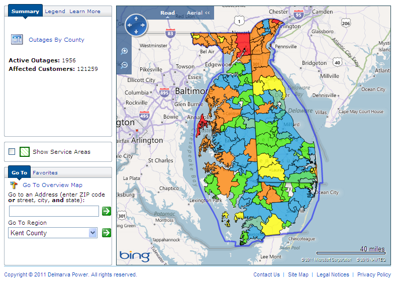 Delmarva Power Outage Map for Maryland/Delaware at 10:51 AM on Sunday August 28th 2011