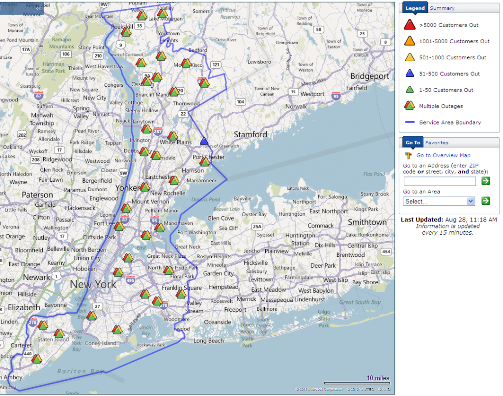 Con Edison New York City Power Outage Map at 11:29 AM on Sunday August 28th 2011