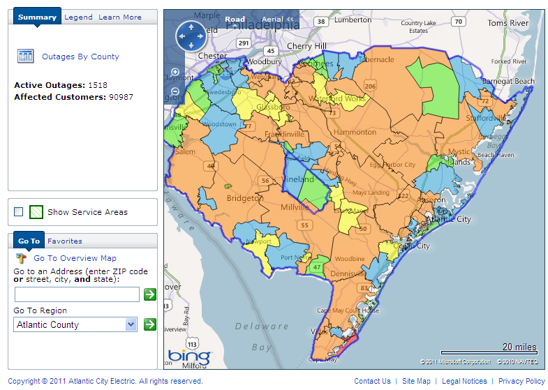 Atlantic City Electric power outage map for southern New Jersey at 11:30 AM on Sunday August 28th 2011