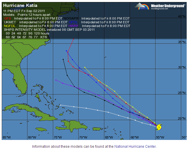 Weather Underground Computer Model Hurricane Forecasts for Hurricane Katia on Saturday September 3rd 2011