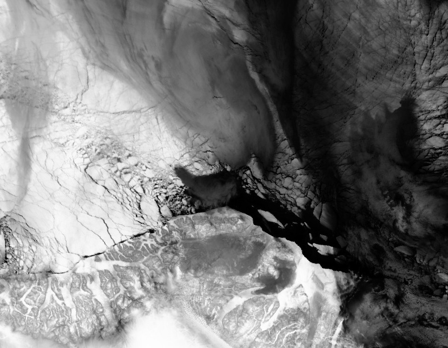 Satellite image of the Cape Morris Jesup area of Greenland on 2nd December 2012 - Click to see recent images