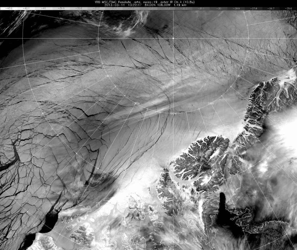 Multi-year Arctic sea ice cracking at the seams north of Ellesmere Island at 13:21 GMT on March 11th 2013