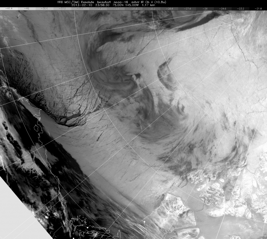 Satellite view of the Beaufort Sea on February 10th 2013