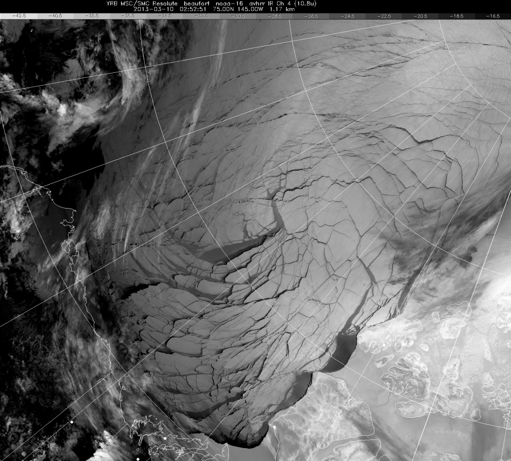 Satellite view of the Beaufort Sea on March 10th 2013