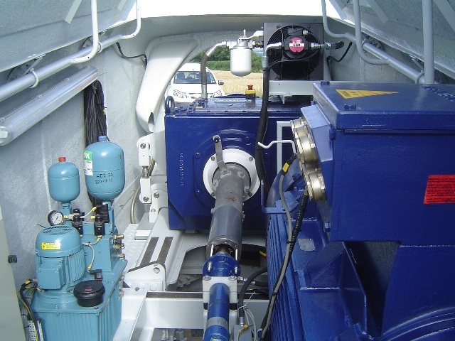A view inside the nacelle of the SBCES wind turbine
