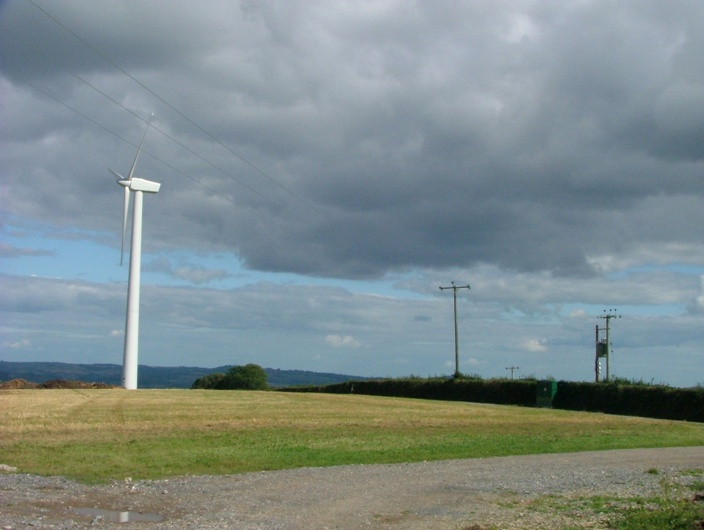 A view of the SBCES wind turbine and grid connection from the road