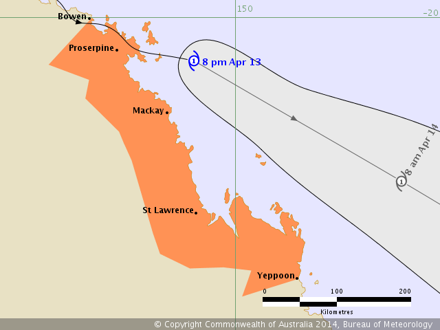 Forecast track for Tropical Cyclone Ita at 7:57 pm EST Sunday 13 April 2014