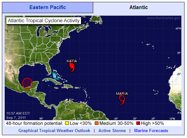 North Atlantic tropical cyclone activity at 10:57 AM on Wednesday September 7th 2011