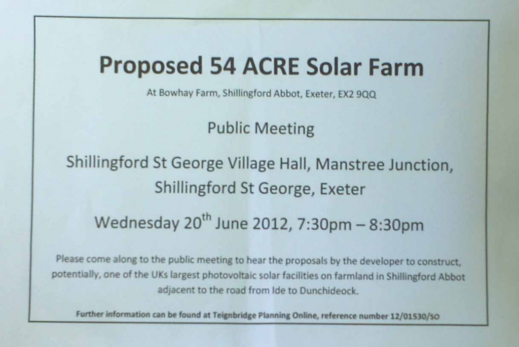 Notice of proposed 54 acre 12.3 MW solar farm near Shillingford Abbot