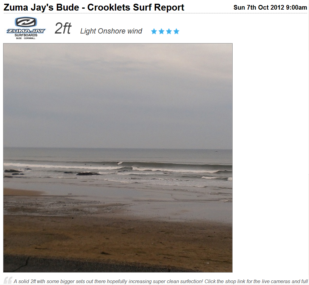 Zuma Jay's Bude surf report for October 7th 2012