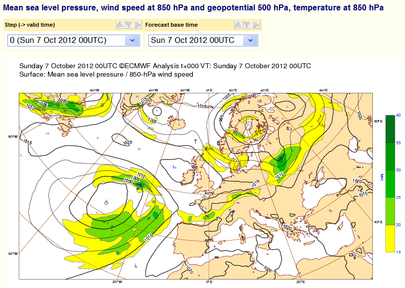 ECMWF Surface Pressure Chart for October 7th 2012