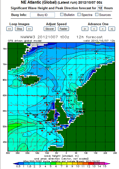NCEP/NOAA wave forecast for 12:00 on October 7th 2012