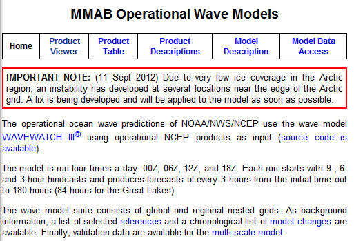 NCEP/NOAA warning that loss of sea-ice in the Arctic has messed up their models