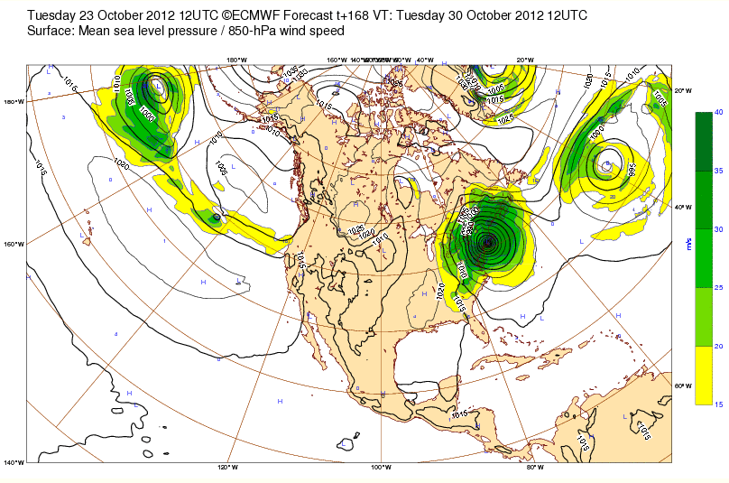 ECMWF forecast for Tuesday October 30th 2012, from the October 23rd model run