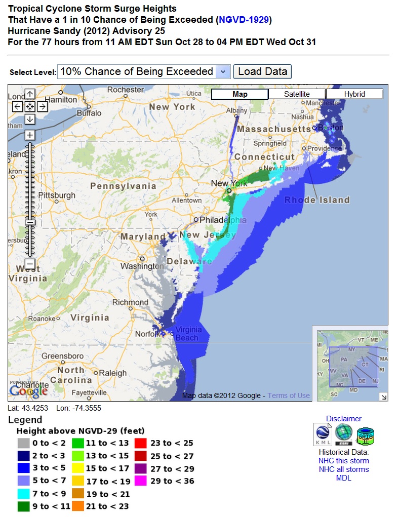 NHC storm surge heights until 4 PM EDT on October 31st 2012