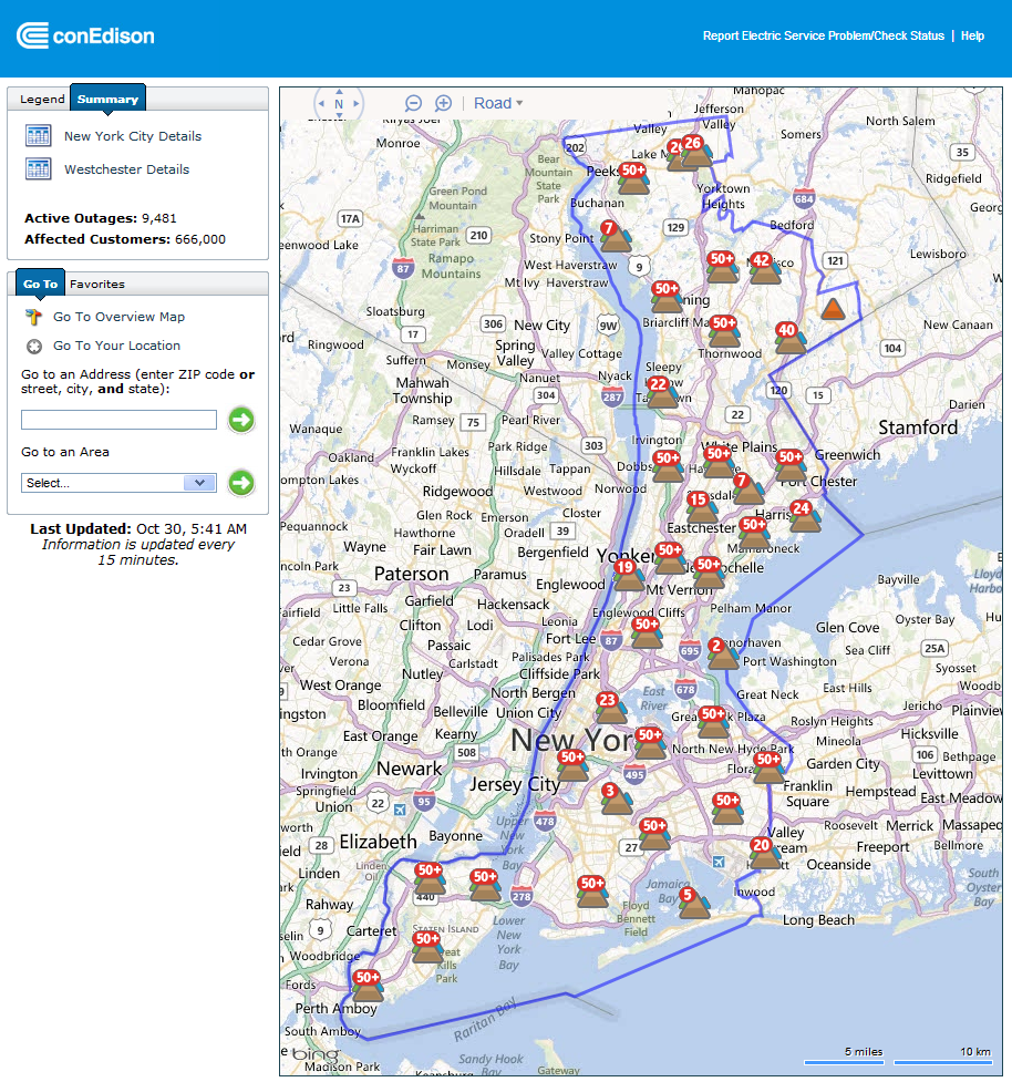 Con Edison power outage map for New York at 5:41 AM EDT on Tuesday October 30th 2012