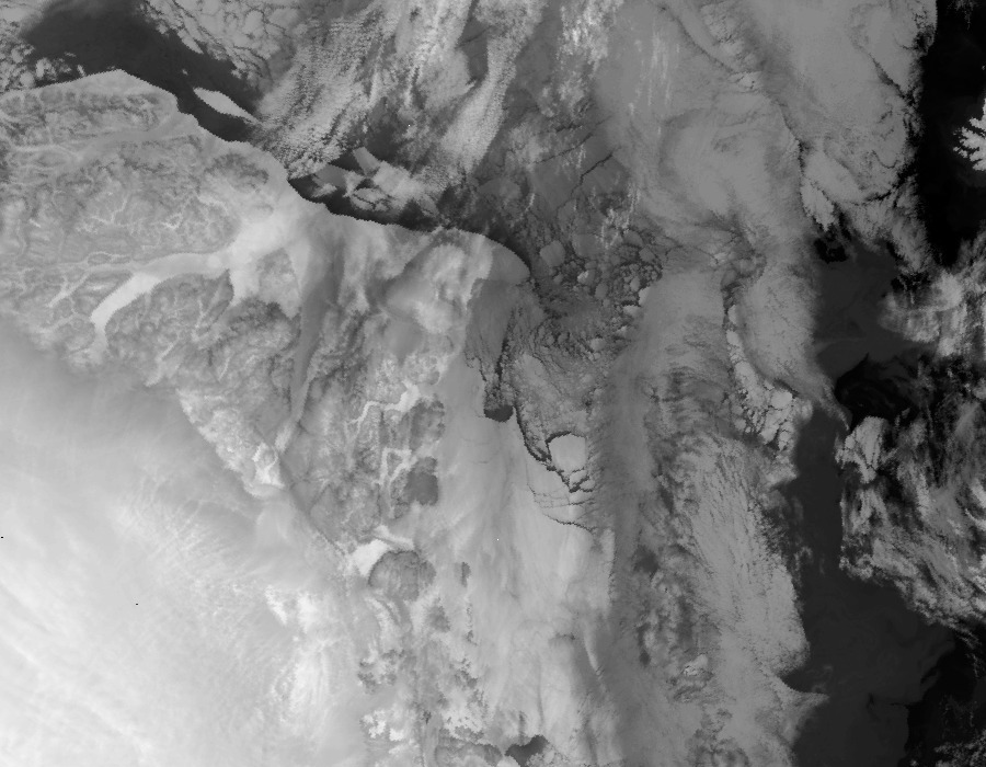 Satellite image of the Station Nord area of Greenland on 1st December 2012 - Click to see recent images