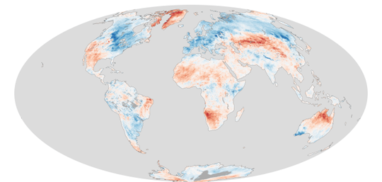 Global land surface temperature anomalies between March 14–20, 2013, courtesy of NASA