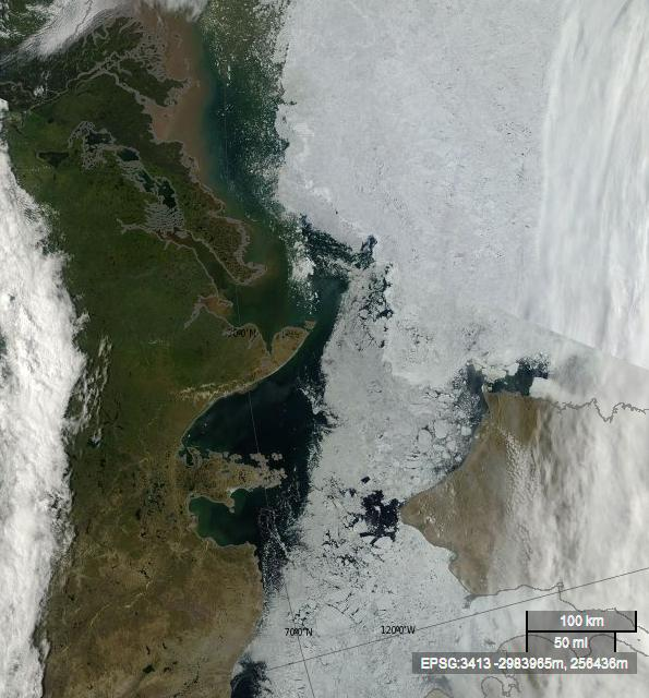 Satellite image from the Mackenzie delta to the Amundsen Gulf, on July 10th 2013