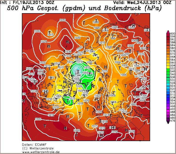 ECMWF SLP forecast for July 24th 2013 from July 19th model run