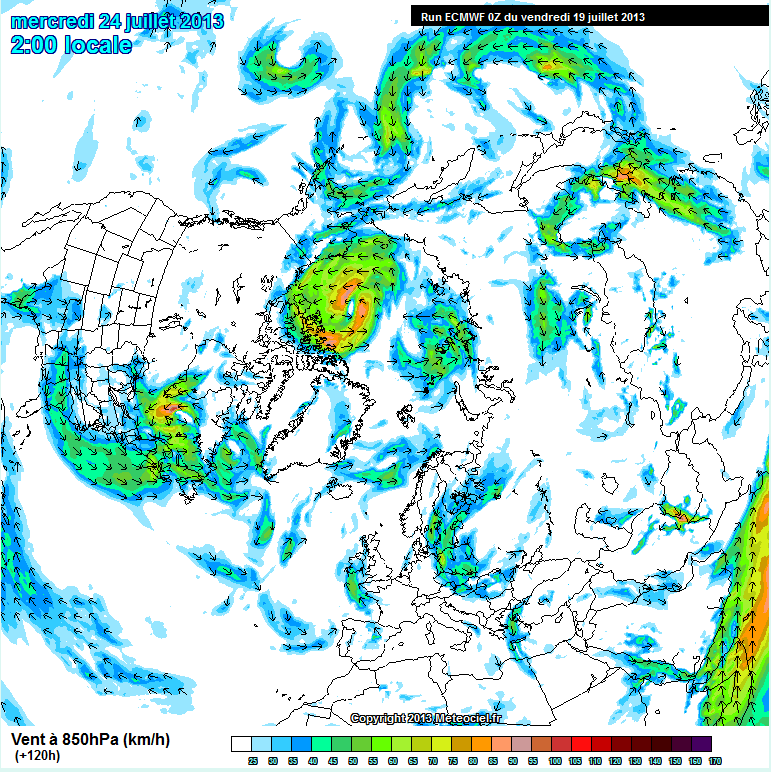 ECMWF Northern hemisphere wind forecast for July 24th 2013, based on the July  19th model run