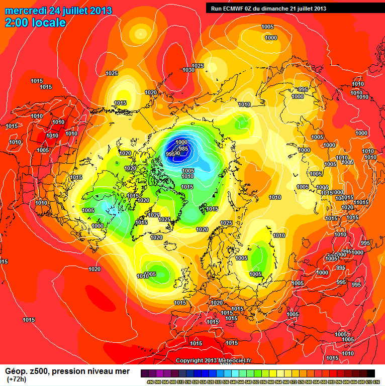 ECMWF SLP forecast for July 24th 2013 from the July 21st model run