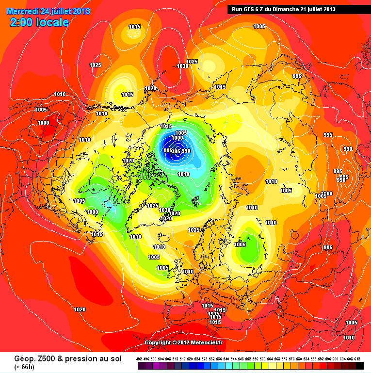 GFS SLP forecast for July 24th 2013 from the July 21st model run