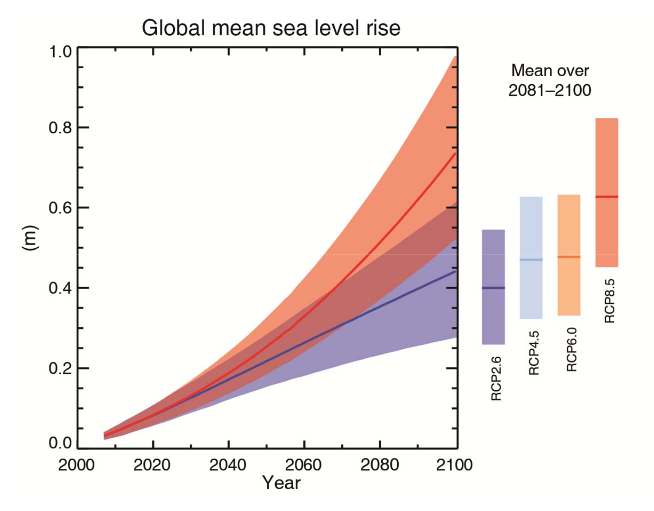 Preliminary sea level rise projections from the IPCC AR5 WGI summary for policymakers