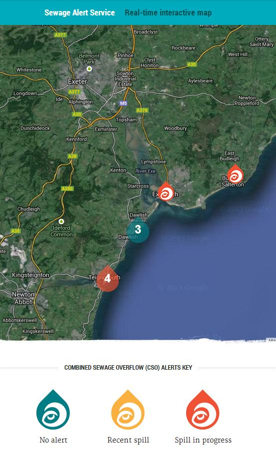 Surfers Against Sewage interactive sewage outflow map for South Devon on October 4th 2013