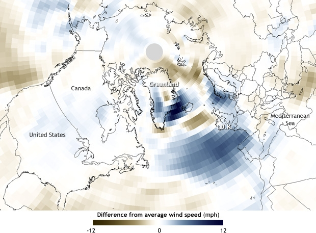 North Atlantic wind speed anomalies for January-February 2014